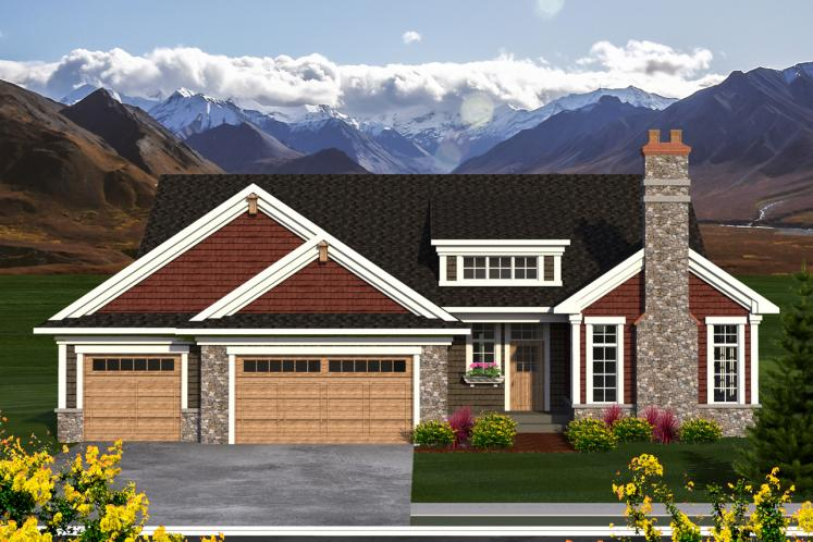 Craftsman House Plan -  87648 - Front Exterior