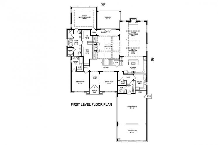 Classic House Plan -  87960 - 1st Floor Plan