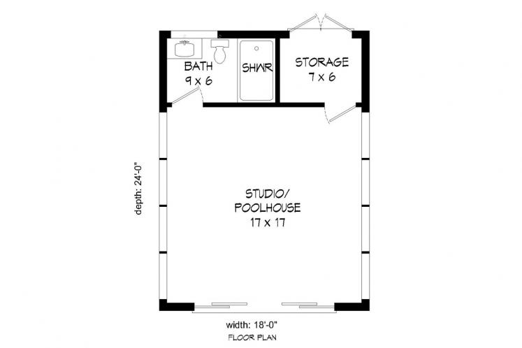 Contemporary  - Mariner Poolhouse 88144 - 1st Floor Plan