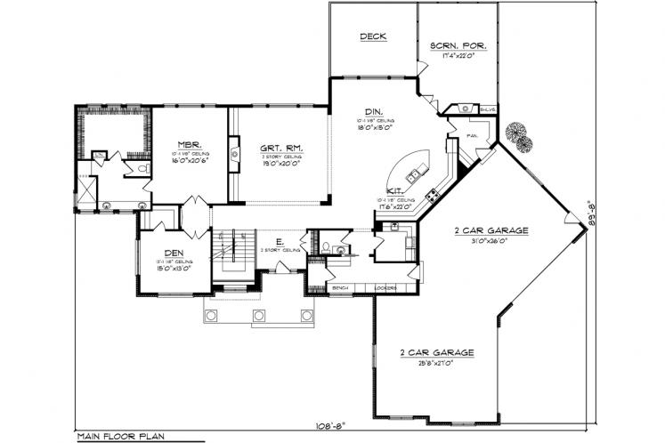 Traditional House Plan -  88217 - 1st Floor Plan