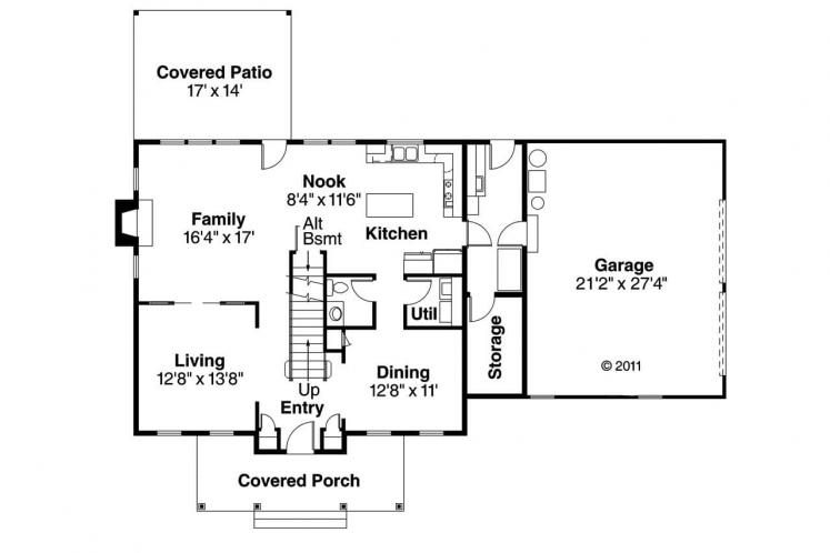 Colonial House Plan - Lorane 88395 - 1st Floor Plan