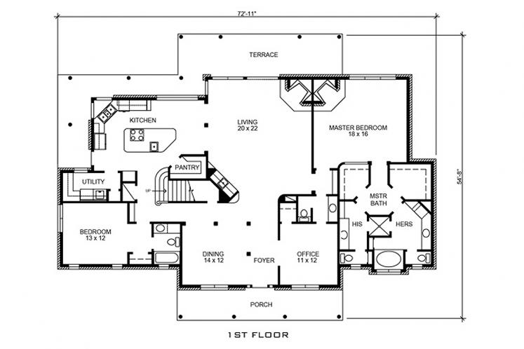 Farmhouse House Plan - Leander 88530 - 1st Floor Plan