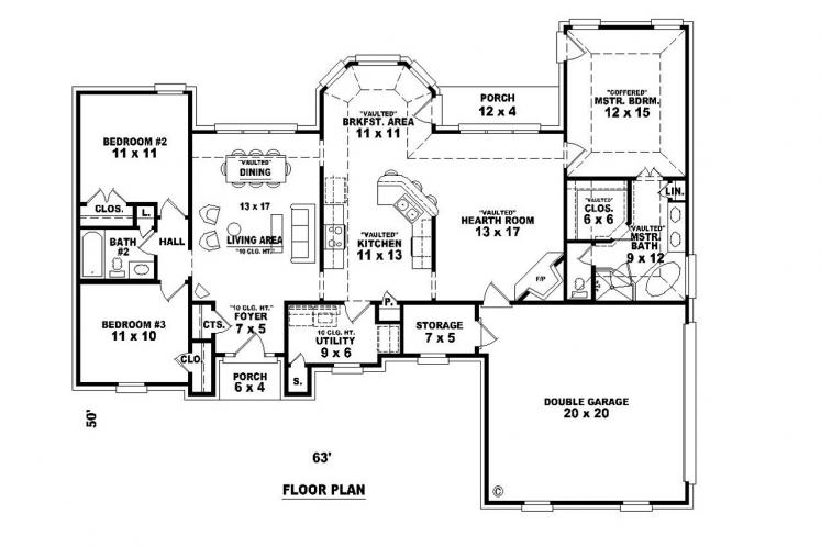 Ranch House Plan -  88569 - 1st Floor Plan