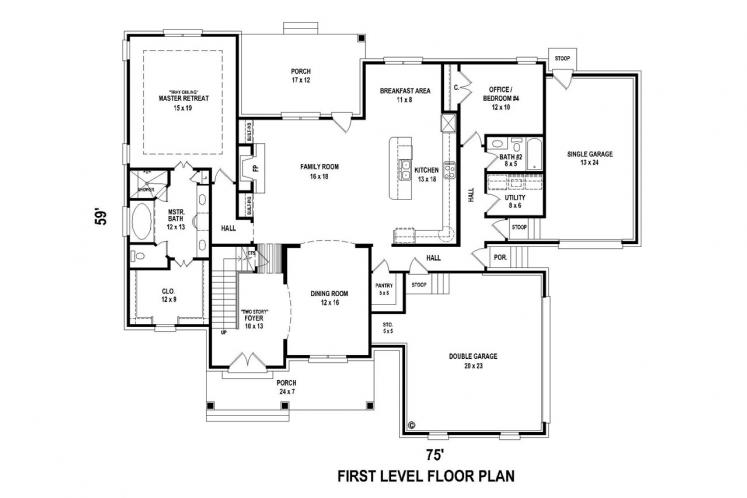 Country House Plan -  88602 - 1st Floor Plan