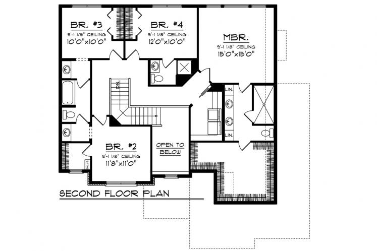 Traditional House Plan -  88651 - 2nd Floor Plan