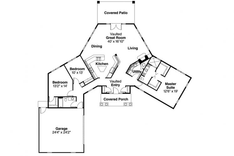 Contemporary House Plan - Hamilton 88844 - 1st Floor Plan