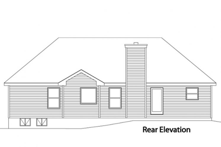 Ranch House Plan -  88929 - Rear Exterior