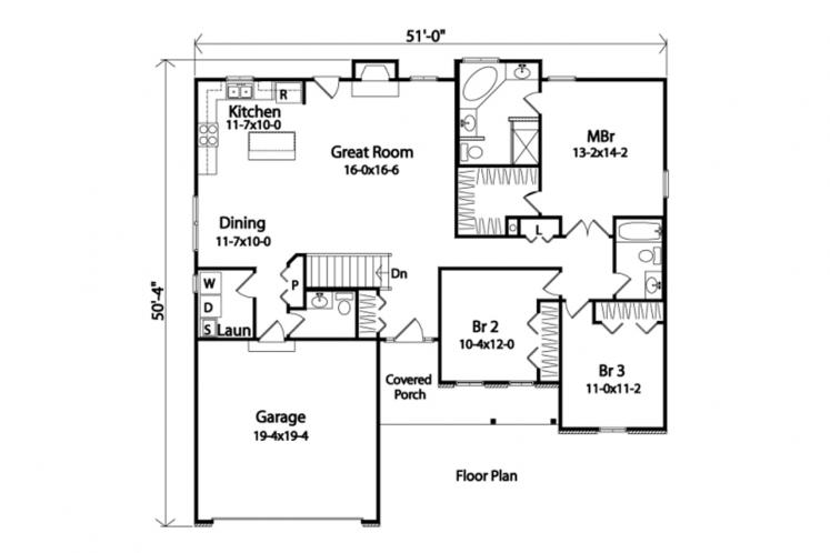 Traditional House Plan -  88929 - 1st Floor Plan