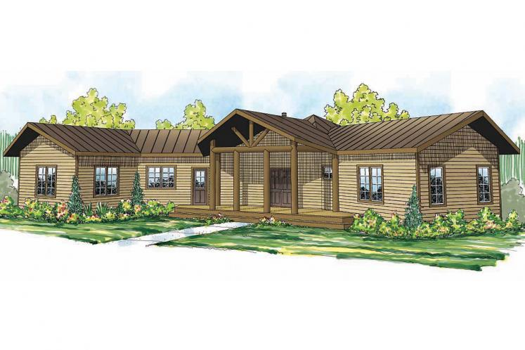 Lodge Style House Plan - Blue Creek 89015 - Front Exterior