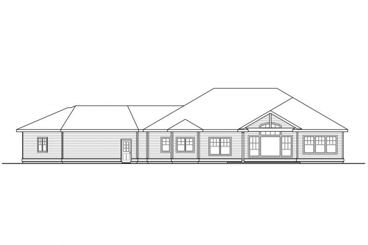 Ranch House Plan - Chemeketa 89044 - Rear Exterior