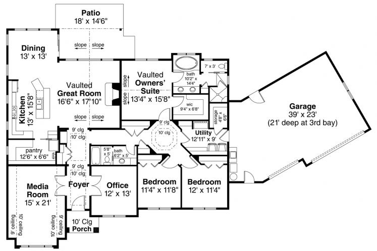 Ranch House Plan - Chemeketa 89044 - 1st Floor Plan