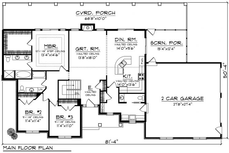 Ranch House Plan -  89104 - 1st Floor Plan