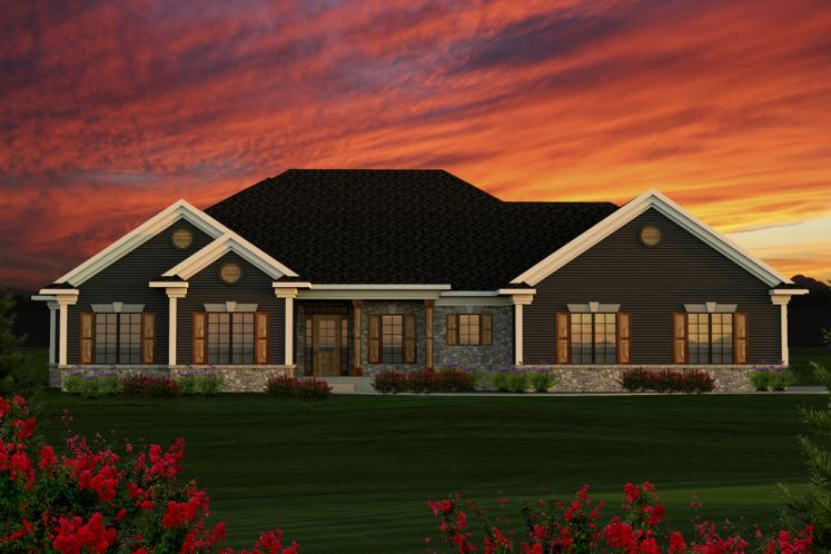 Ranch House Plan -  89104 - Front Exterior