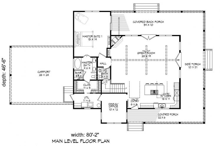 Cottage House Plan - Peachtree 89202 - 1st Floor Plan