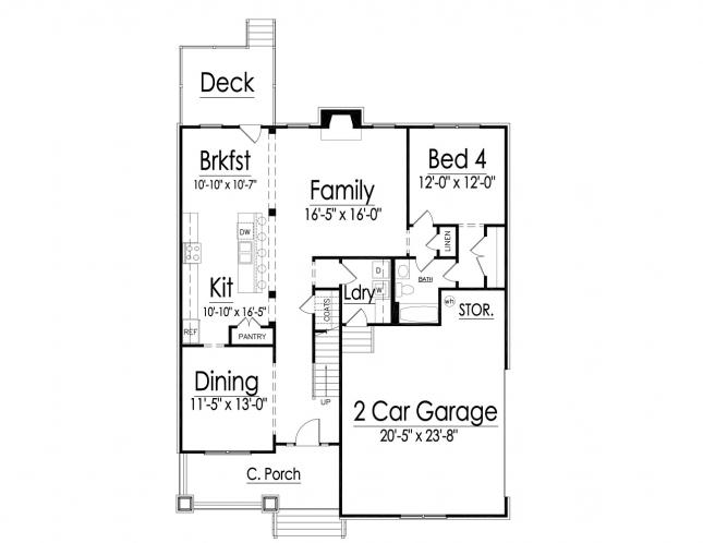Craftsman House Plan -  89353 - 1st Floor Plan