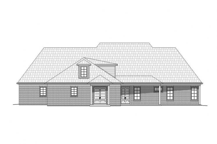 Colonial House Plan -  89464 - Rear Exterior