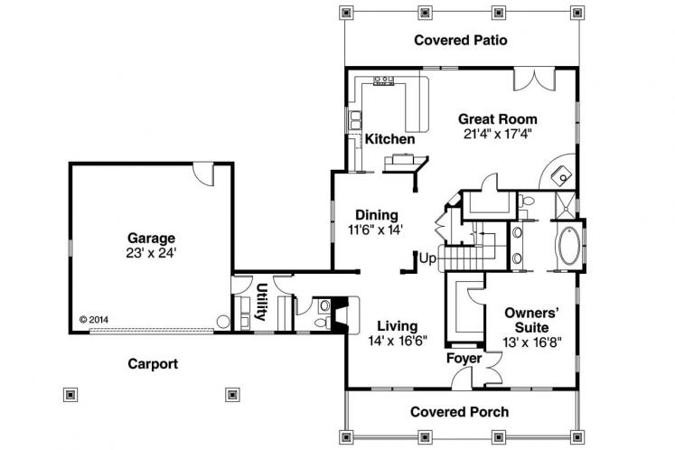 Cottage House Plan - Wisteria 89501 - 1st Floor Plan
