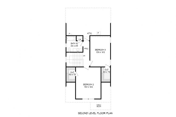 Bungalow House Plan -  89805 - 2nd Floor Plan