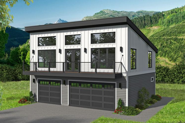 Contemporary House Plan - Birchwood 90099 - Front Exterior