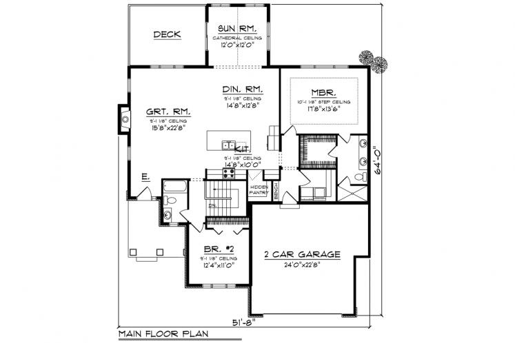 Ranch House Plan -  90152 - 1st Floor Plan