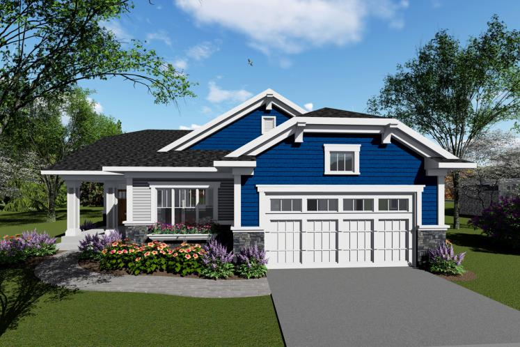 Craftsman House Plan -  90152 - Front Exterior