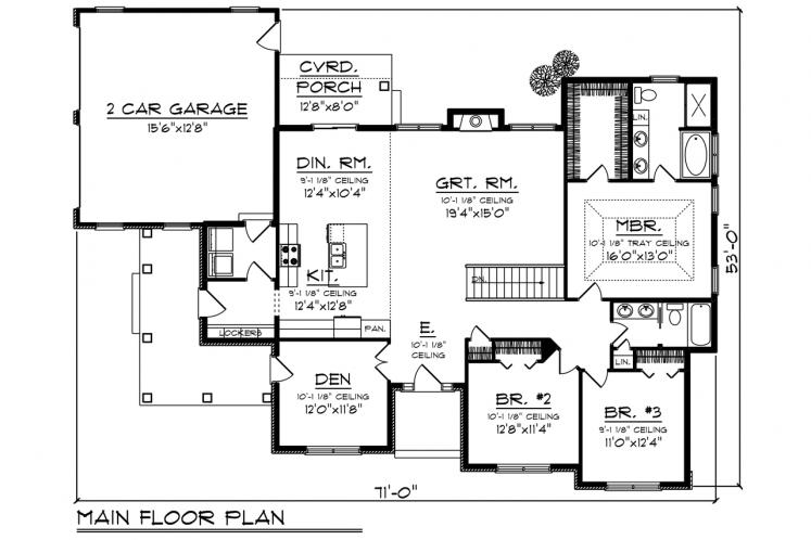 Ranch House Plan -  90400 - 1st Floor Plan