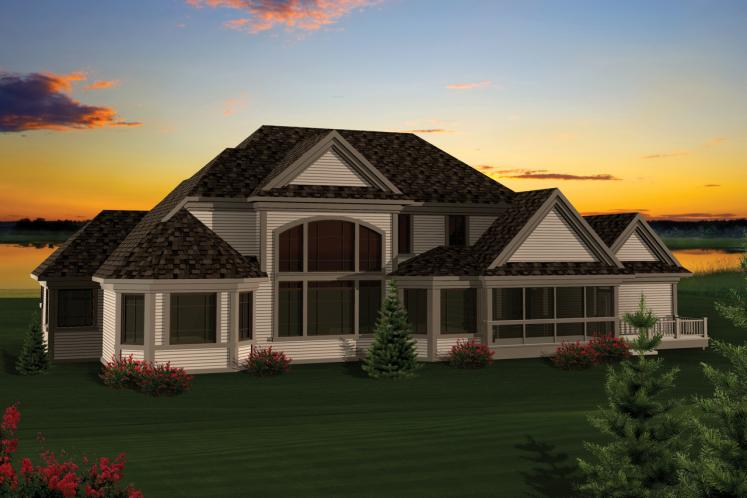 Traditional House Plan -  90578 - Rear Exterior