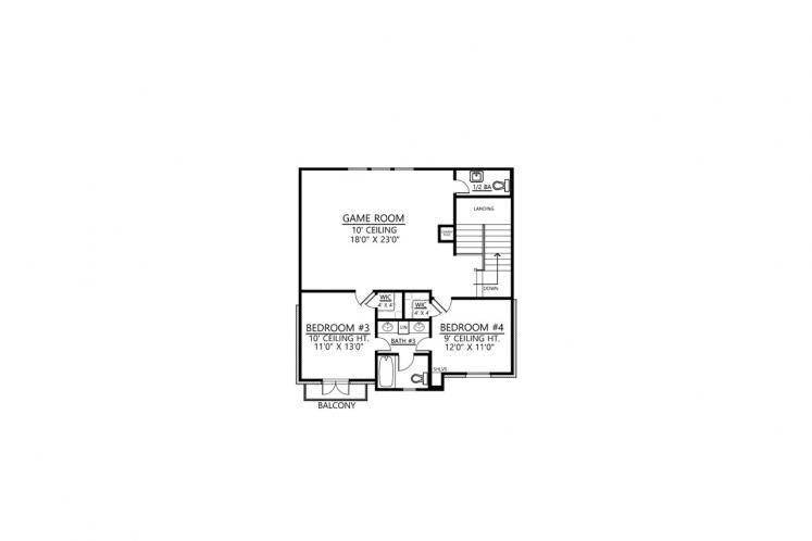 Southern House Plan - Orleans 90875 - 2nd Floor Plan