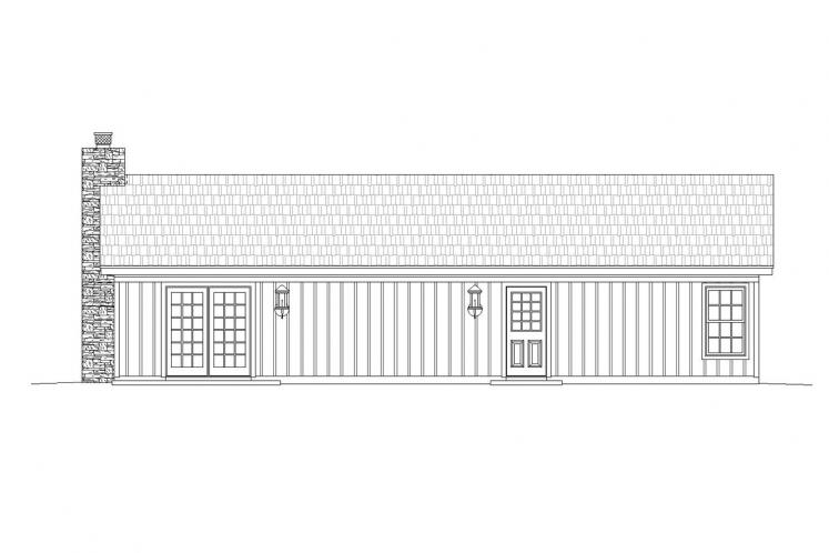 Cottage House Plan -  90877 - Rear Exterior