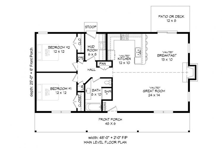 Cottage House Plan -  90877 - 1st Floor Plan
