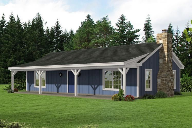 Country House Plan -  90877 - Front Exterior