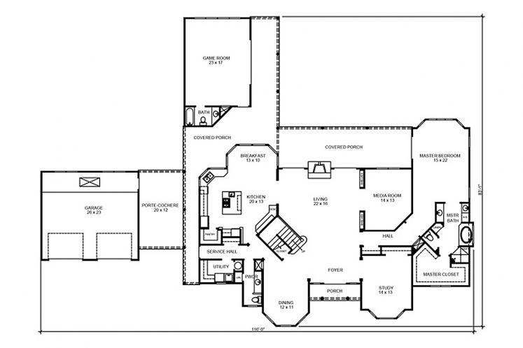 Classic House Plan - Garrison 91222 - 1st Floor Plan