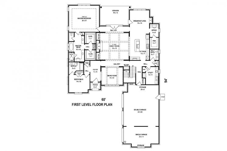 Southern House Plan -  91654 - 1st Floor Plan