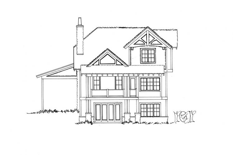 Bungalow House Plan - Fall River 92064 - Rear Exterior