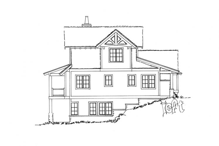 Craftsman House Plan - Fall River 92064 - Left Exterior