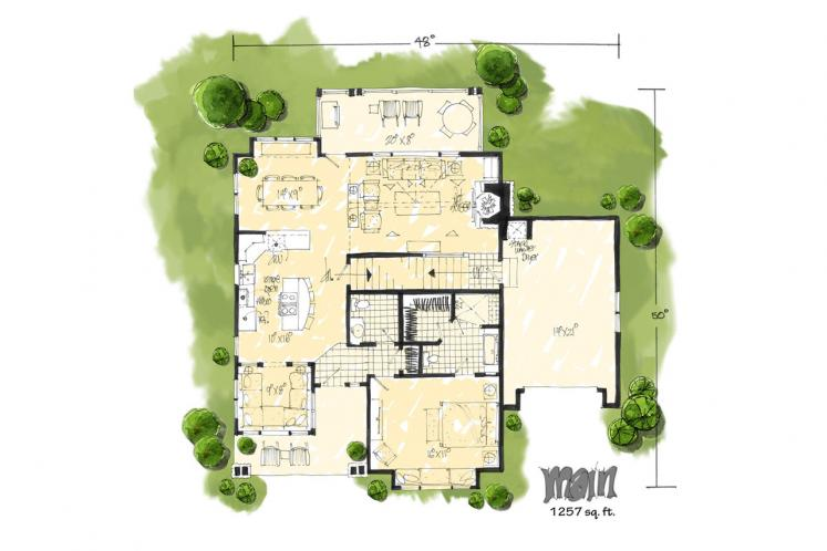 Bungalow House Plan - Fall River 92064 - 1st Floor Plan