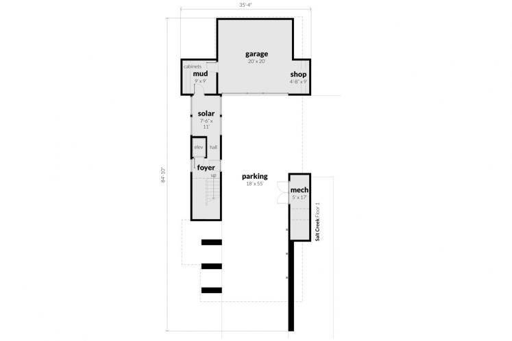 Contemporary House Plan - Salt Creek 92146 - 1st Floor Plan