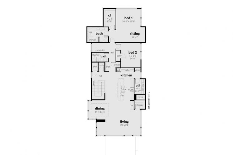 Modern House Plan - Salt Creek 92146 - 2nd Floor Plan