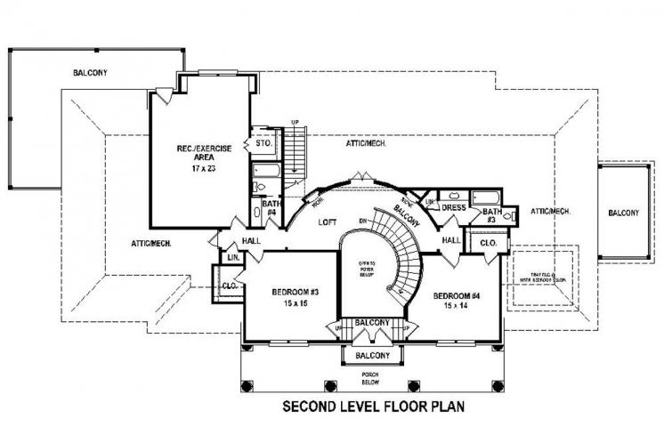 Colonial House Plan -  92332 - 2nd Floor Plan