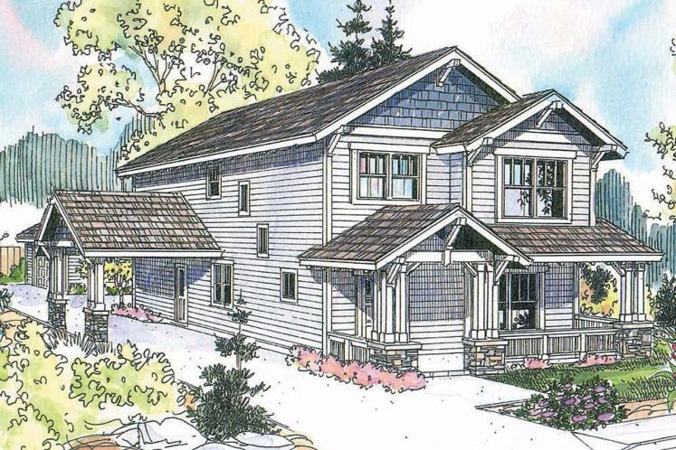 Craftsman House Plan - Grovedale 92489 - Front Exterior
