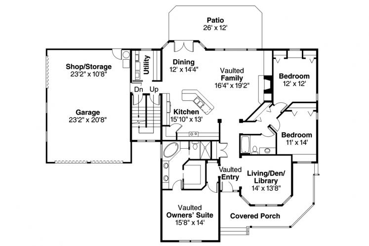 Cottage House Plan - Clearheart 92676 - 1st Floor Plan