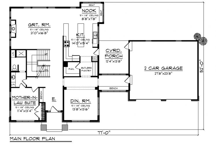 Prairie House Plan -  92713 - 1st Floor Plan