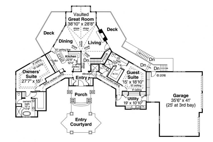 Ranch House Plan - Barrett 92758 - 1st Floor Plan