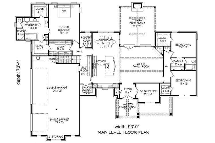 Craftsman House Plan - Tascocita 92787 - 1st Floor Plan