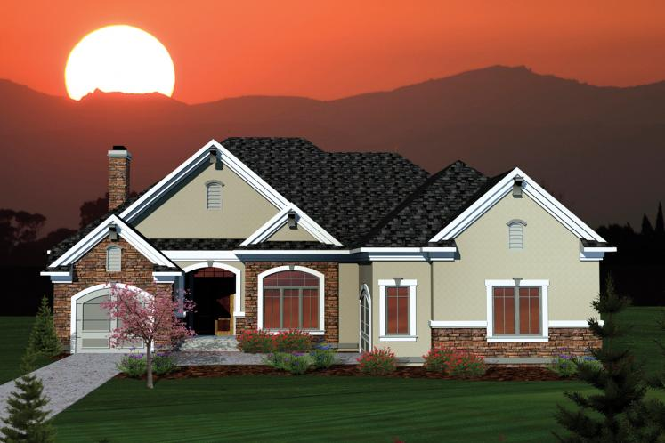 Ranch House Plan -  92805 - Front Exterior