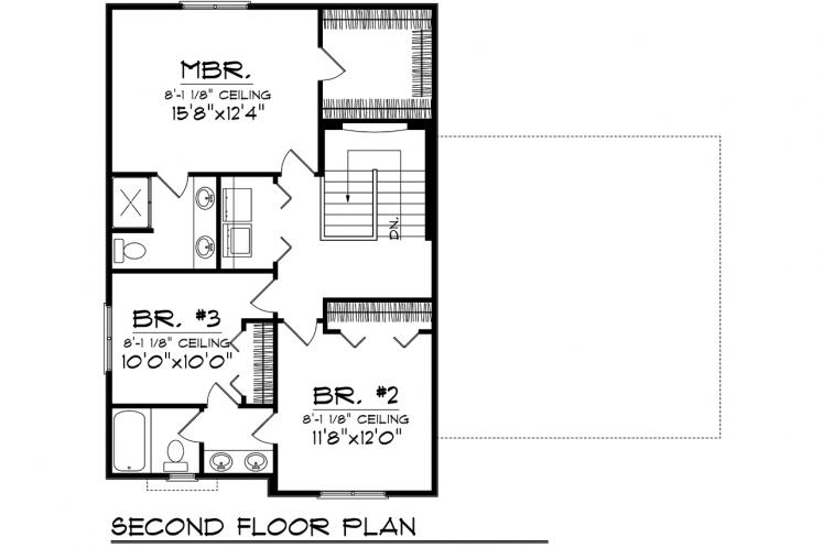 Traditional House Plan -  92810 - 2nd Floor Plan
