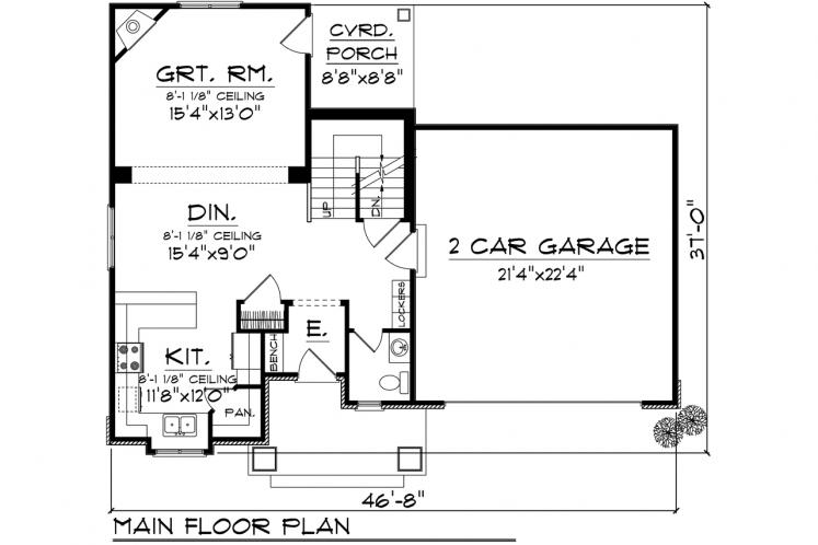 Farmhouse House Plan -  92810 - 1st Floor Plan