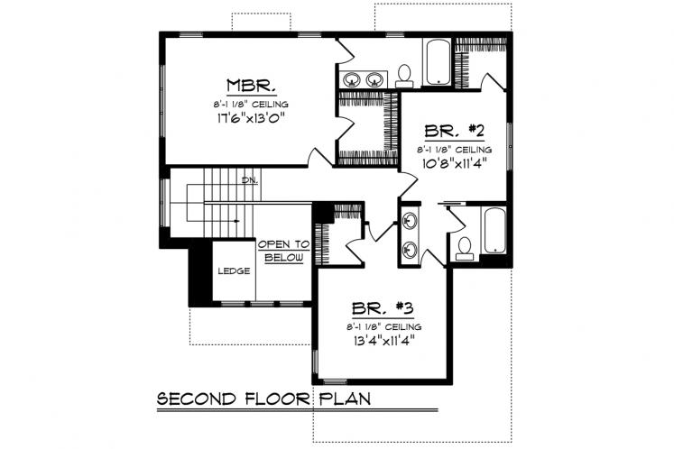 Traditional House Plan -  92832 - 2nd Floor Plan