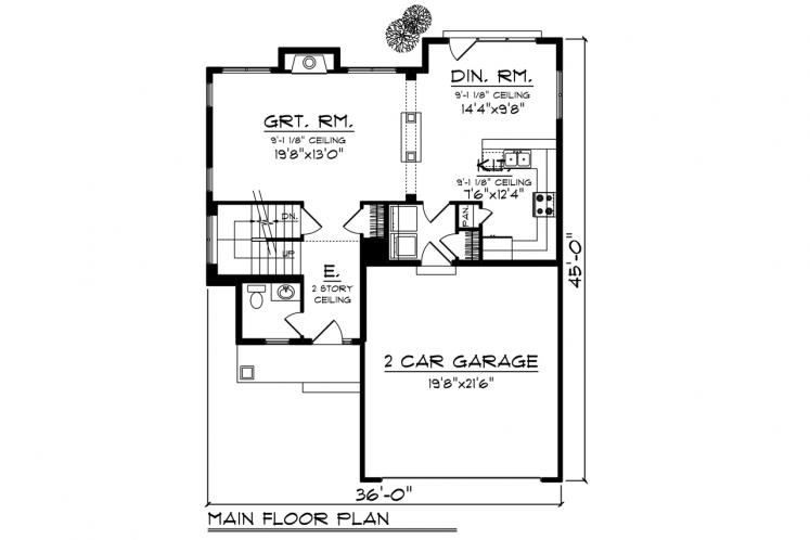 Craftsman House Plan -  92832 - 1st Floor Plan