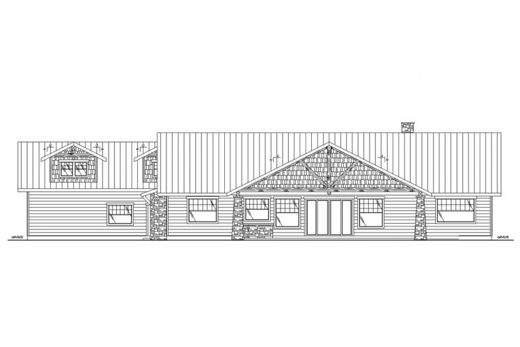 Lodge Style House Plan -  93267 - Rear Exterior